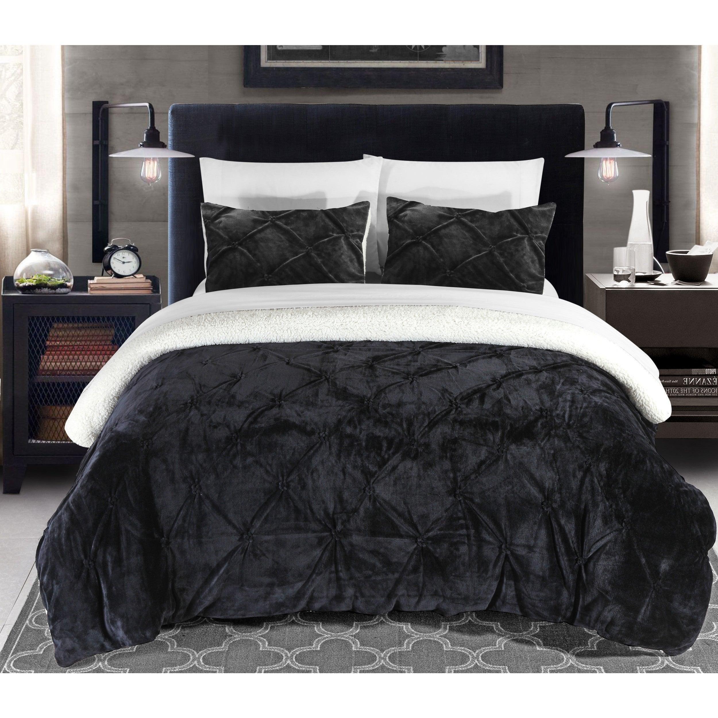 Chic Home Kaiser 7 Piece Sherpa Comforter Bedding Set Black On Sale Overstock 17433427 Queen