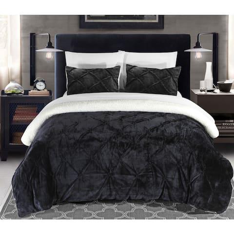 Chic Home Kaiser 7-Piece Sherpa Comforter Bedding Set - Black