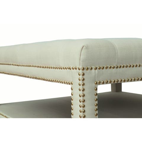 Chic Home Micah Coffee Table Ottoman in a 2-Layered Tufted Linen Bench