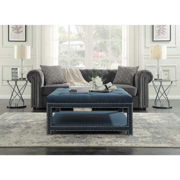 Chic Home Micah Coffee Table Ottoman in a 2-Layered Tufted Linen ...