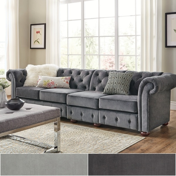 Knightsbridge Velvet Tufted Scroll Arm Chesterfield Extra Long Sofa By  INSPIRE Q Artisan