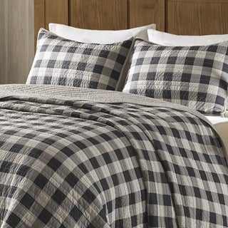 Woolrich Buffalo Check Gray Year Round Oversized Cotton Printed Quilt Mini Set