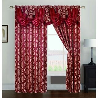 RT Designers Collection Andover Jacquard 84-inch Double Rod Pocket Curtain Panel w/ Attached 18 in. Valance