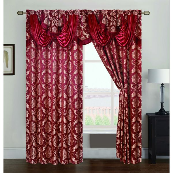 Andover Jacquard 84-inch Rod Pocket Single Curtain Panel w/ Attached 18 in. Valance - 54 x 84 in. + 18 in.