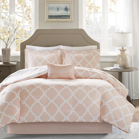Madison Park Essentials Almaden Blush Reversible Complete Comforter and Cotton Sheet Set