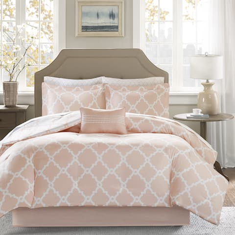 Madison Park Essentials Almaden Peach Reversible Complete Comforter and Cotton Sheet Set