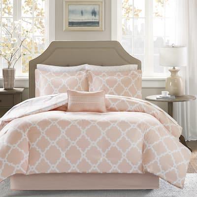 Madison Park Essentials Almaden Peach Reversible Complete Comforter and Cotton Sheet Set