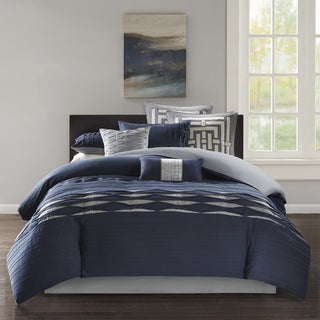 N Natori Nara Navy Oversized Cotton Sateen Pintuck Comforter Set