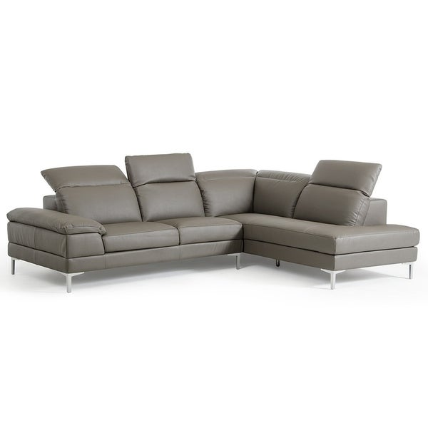 Shop Gentiana Contemporary Grey Leather L Shaped Sofa Free