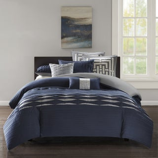 N Natori Nara Navy Oversized Cotton Sateen Pieced Duvet Cover Set With Pintuck - Comforter Insert Not Included