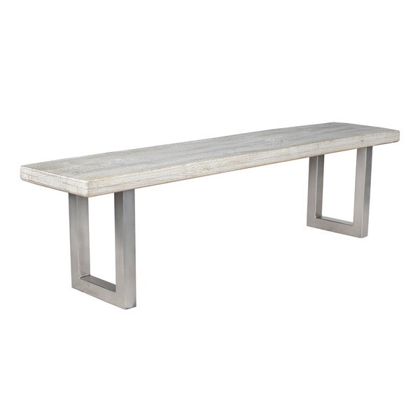Kosas Home Darren Whitewashed Solid Wood 68-inch Bench