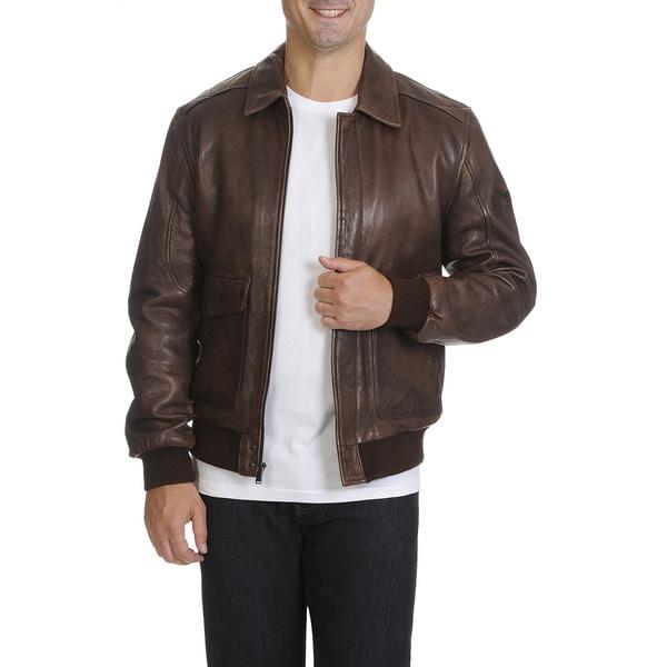 fdb017ad672 Shop Boston Harbour Men s Vintage Flight Leather Jacket - Free ...