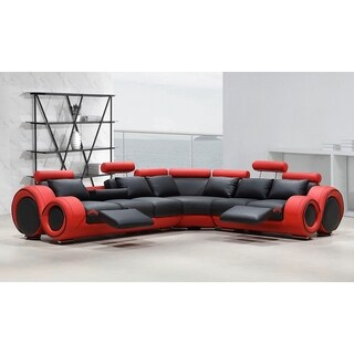 Link to Renaissance Black/Red Leather L-shaped Sofa with Rounded Armrests Similar Items in Living Room Furniture