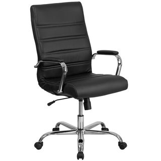 Executive High Back Black Leather Adjustable Swivel Office Chair With Chrome Base And Padded Arms