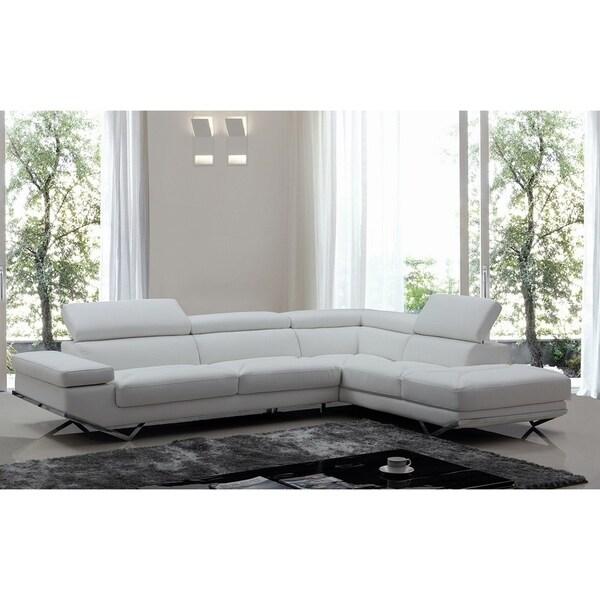 L Shaped White Leather Sofa: Shop Walden Modern White Leather L-shaped Sofa With