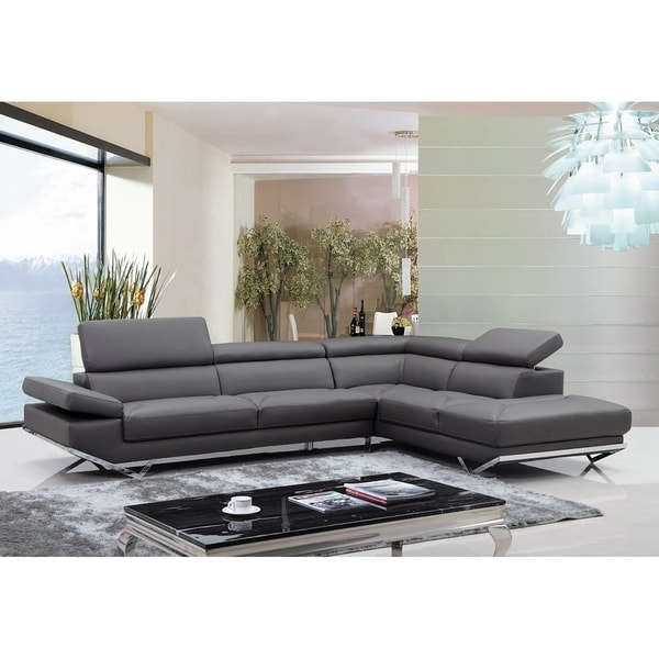 Walden Modern Dark Grey Leather L-shape Sofa with Adjustable Headrest
