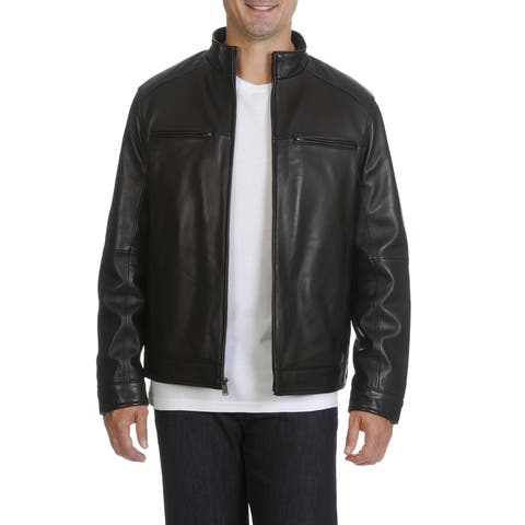 Boston Harbour Men's Leather Stand Collar Moto Jacket