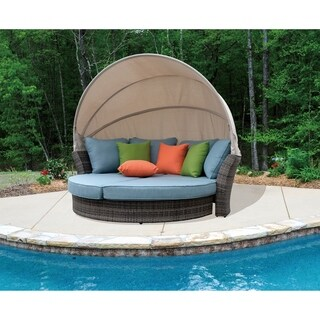 Courtyard Casual Taupe Eclipse Outdoor Expandable Daybed W/ Canopy