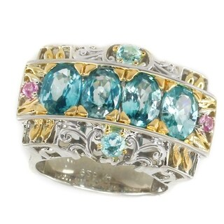Michael Valitutti Palladium Silver Blue Zircon, Brazilian Apatite & Pink Sapphire Band Ring