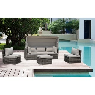 Courtyard Casual Taupe Aurora Outdoor Sectional Daybed Combo W/ Canopy