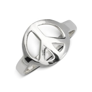 Sterling Silver Polished Open Peace Sign Band Ring - White