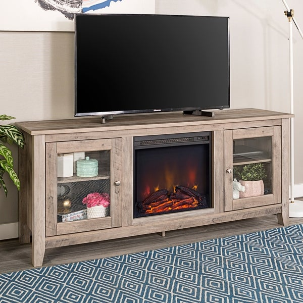 Shop 58 Inch Wood Grey Wash Tv Stand With Fireplace On