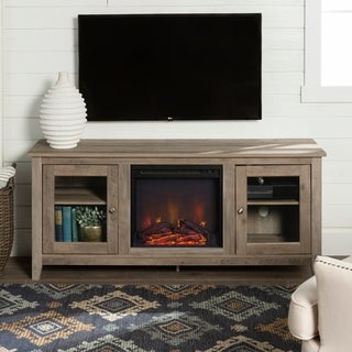 "58"" Fireplace TV Stand Console - Grey Wash - 58 x 16 x 24h"