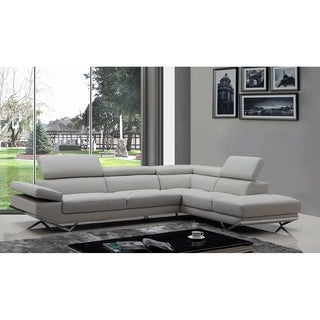 Walden Modern Light Grey Leather L-shape Sofa with Adjustable Headrest
