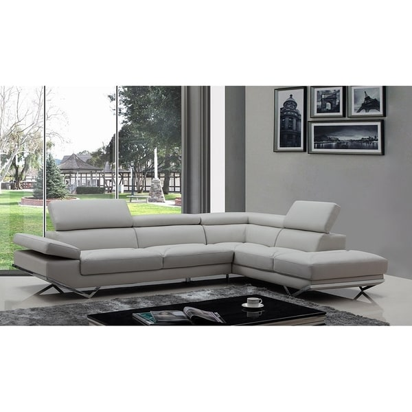 Walden Modern Light Grey Leather L-shape Sofa with Adjustable Headrest