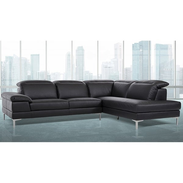 Shop Gentiana Contemporary Black Leather L-shaped Sofa ...
