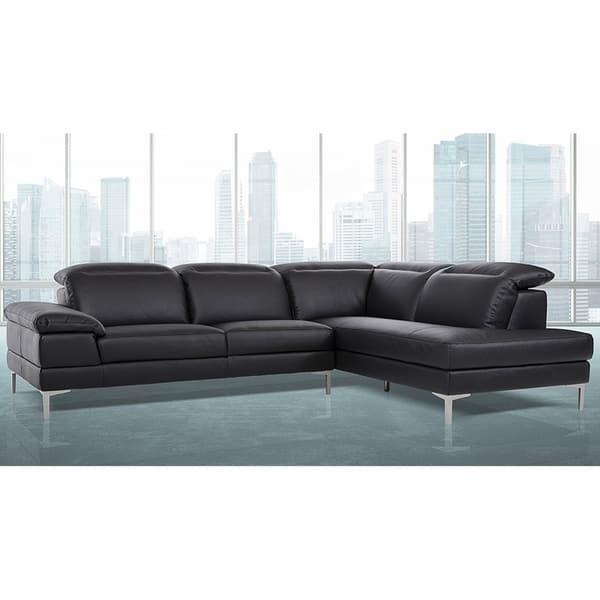 Shop Gentiana Contemporary Black Leather L-shaped Sofa ...