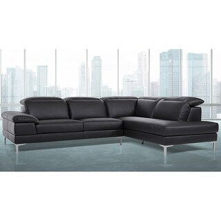 Gentiana Contemporary Black Leather L-shaped Sofa