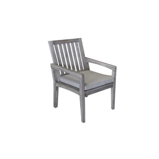 Courtyard Casual Gray Teak Surf Side Outdoor Dining Chair with Cushion