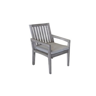 The Gray Barn Bluebird Grey Teak Outdoor Dining Chair with Cushion