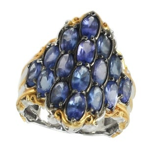 Michael Valitutti Palladium Silver Oval Tanzanite Cluster Ring - Blue