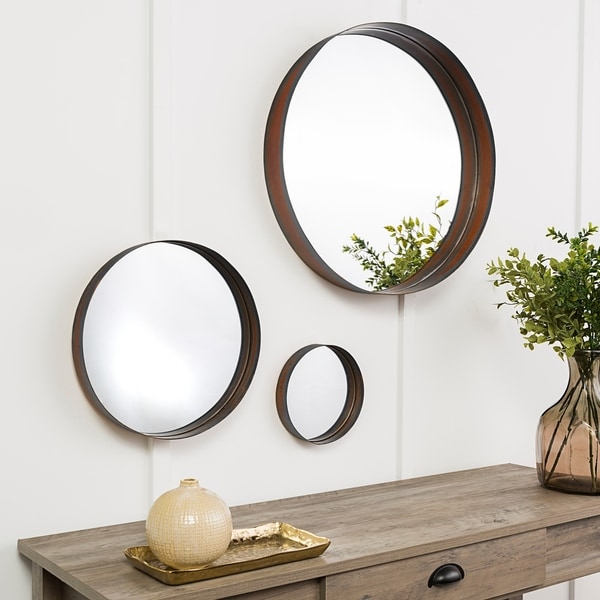 Banded Round Copper Wall Mirrors - Set of 3