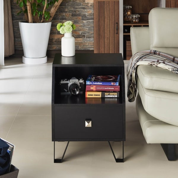 Furniture of America Kara Contemporary Black 1-drawer Side Table. Opens flyout.