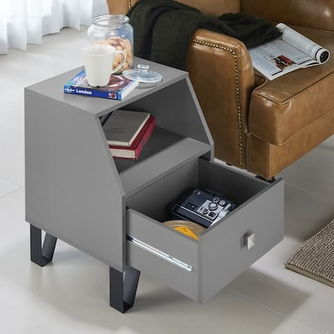 Furniture of America Kara Contemporary Black 1-drawer Side Table