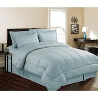 Microfiber Down Alternative 8-Piece Doby Stripe Bed in A Bag with Sheet Set