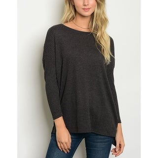 JED Women's Ribbed Knit Relax Fit Tunic Top