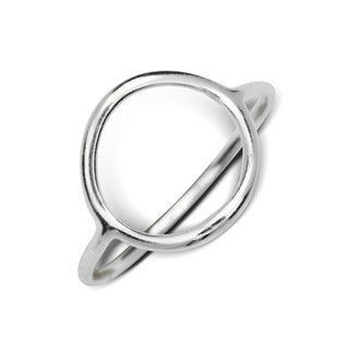 Sterling Silver Small Bohemian Open Circle Ring - White