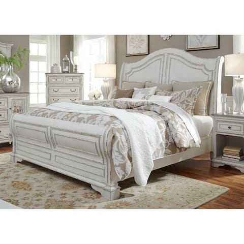 Magnolia Home Antique White Sleigh Bed - Distressed Bedroom Furniture Find Great Furniture Deals Shopping