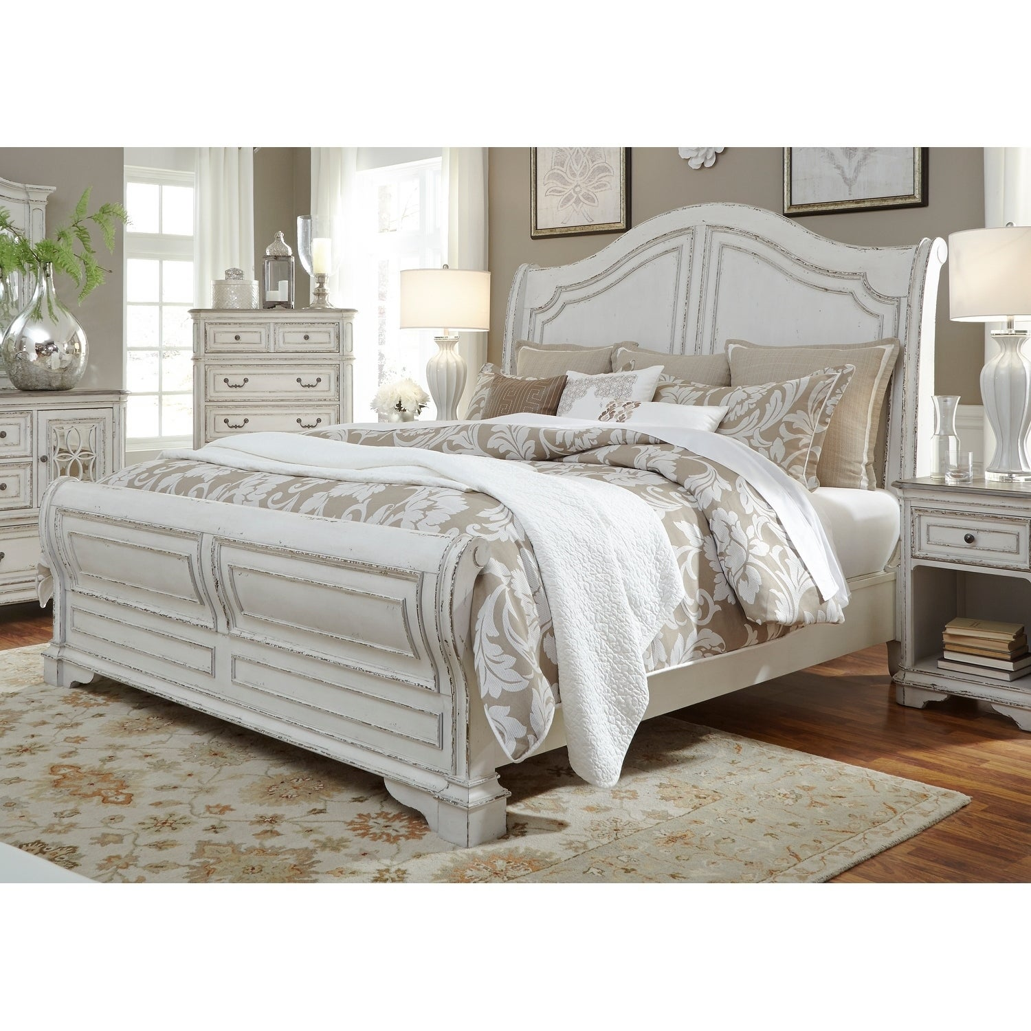 - Shop Magnolia Manor Antique White Sleigh Bed - On Sale - Overstock