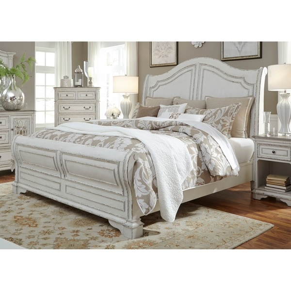 . Magnolia Manor Antique White Sleigh Bed