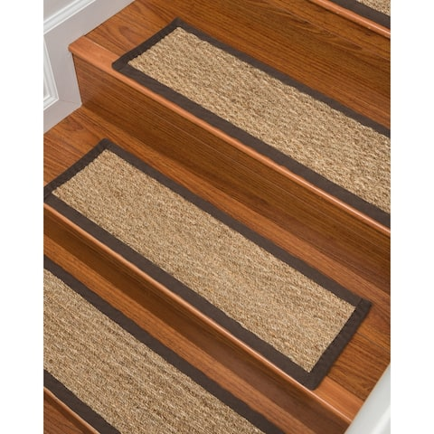 "Beach Seagrass Carpet Stair Treads, 9"" x 29"" Espresso Border - 13PC (9"" x 29"")"