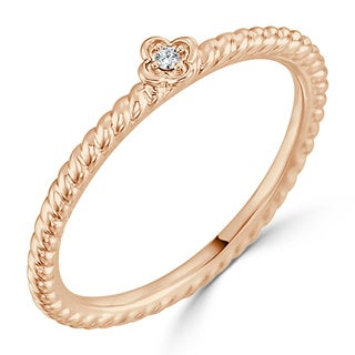 Auriya 10K Gold Round Accented Diamond Floral Stackable Band