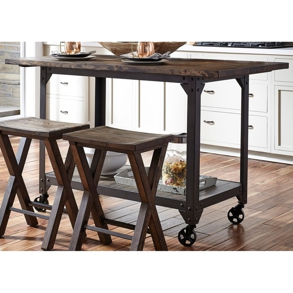 Shop Caldwell Reclaimed Solid Pine And Metal X Kitchen Island - 30 x 60 dining room table