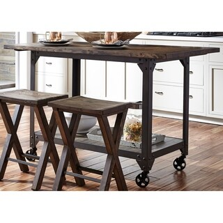 Caldwell Reclaimed Solid Pine and Metal 30x60 Kitchen Island - Brown/Pewter