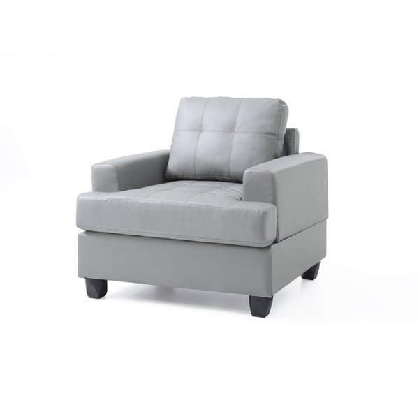 LYKE Home Grey Faux Leather Chair