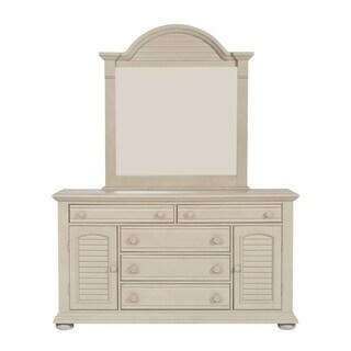 Summer House II Washed Gray 2 Door 5 Drawer Dresser And Mirror Set